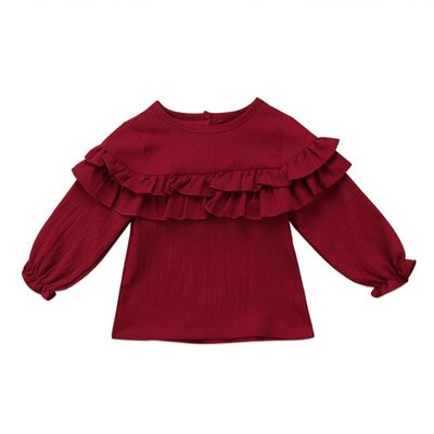 CANIS 2019 New Toddler Newborn Infant Baby Girl Long Sleeve T-shirt Cotton Casual Clothes Shirt Tops 0-3Years Red Gray White