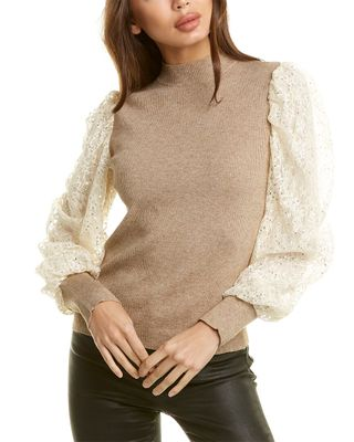 city sleek Lace Sleeve Sweater
