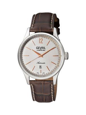 Gevril Five Points Stainless Steel Leather Strap Watch