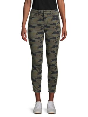 L'Agence Camouflage-Print Cropped Skinny Jeans