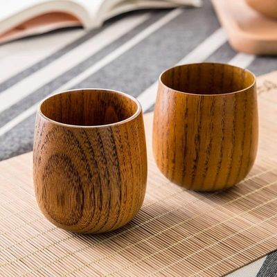 Home home Japanese wooden tea cup cup insulation of large capacity solid wood cup cup summer drink water 1 piece price