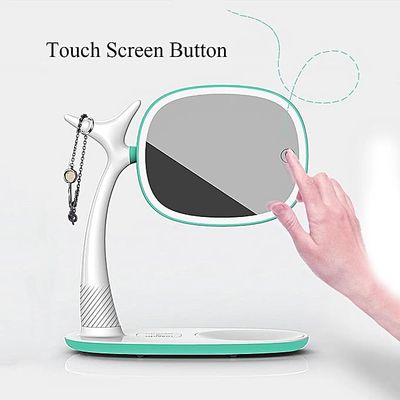 QI Wireless Charger Makeup Mirror LED Light Desk Lamp Touch Screen 360° Rotation Green