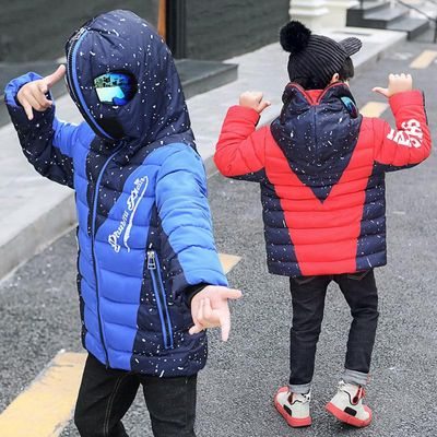 2020 Winter Warm Kids Boys Jackets With Glasses For Children Waterproof Cotton-Padded Parkas with Glasses Teenage Hoodies Coat