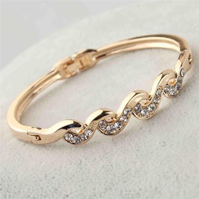 Free shipping Fashion Women's/Girl's  Gold-color Clear Austrian Crystal Bracelets & Bangles Gift Jewelry
