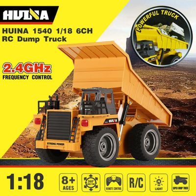 Hot!! HUINA 1540 1/18 2.4G 6CH Alloy Version 360 Degree Rotation RC Dump Truck Construction Engineering Vehicle Kid RC Model Toy