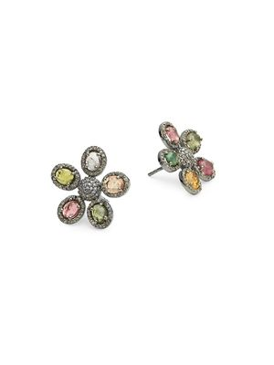 ADORNIA Fine Jewelry Mixed Tourmaline Flower Diamond Stud Earrings