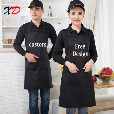 Custom apron add text Black Unisex work kitchen waiter apron Cooking Baking Restaurant Aprons with pockets For Women print logo