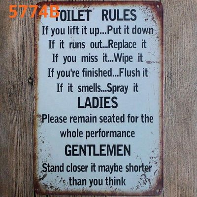 Toilet Rules Family Rules  Metal Tin Sign Vintage Plates For Wall Pub Home Art Retro Bar Decoration A-5774