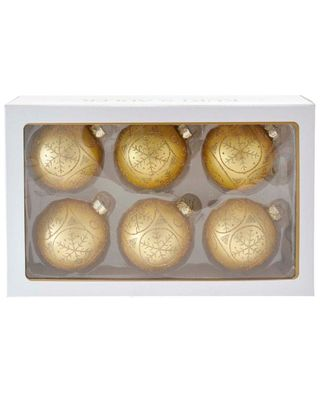 Kurt Adler Set of 6 Gold Snowflake Ball Ornaments