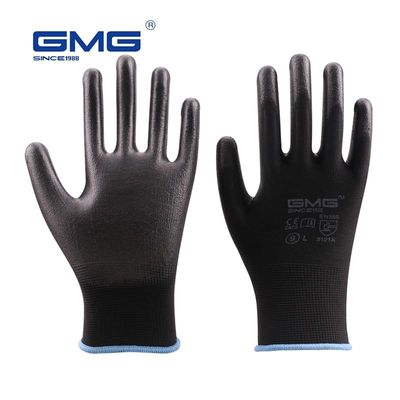 Hot Sale 6 Pairs GMG CE Certificated EN388 Black Red White Polyester White Black PU Safety Work Gloves Mechanical Black Gloves