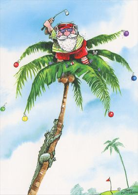 LPG Greetings Golfer Santa on Top of Palm Tree Gary Patterson Tropical Holiday Card