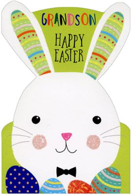 Pictura Bunny on Green Wearing Bow Tie Easter Card for Grandson