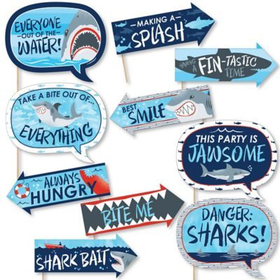 Funny Shark Zone - Shark Viewing Week Party - Jawsome Shark Party or Birthday Party Photo Booth Props Kit - 10 Piece