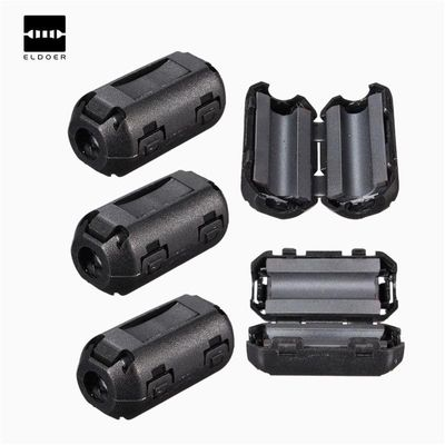 10pcs New Removable Clip On RFI 5mm Audio Data Cable Wire Filter Snap Around Ferrite Black Plastic Filters