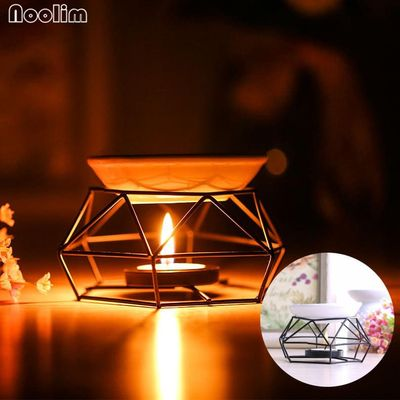 NOOLIM New Arrival Iron Aromatherapy Aroma Burner Glass Aroma Oil Lamp Gifts And Crafts Home Decorations Essential Oil Burner