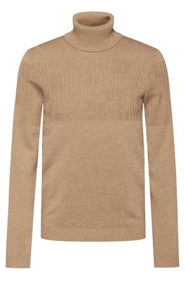 HUGO BOSS - Rollneck Wool Cotton Sweater With Placement Jacquard