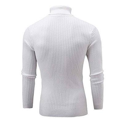 Africanmall Store Winter Men Slim Warm Knit High Neck Pullover Jumper Sweater Turtleneck Top WH/L-White