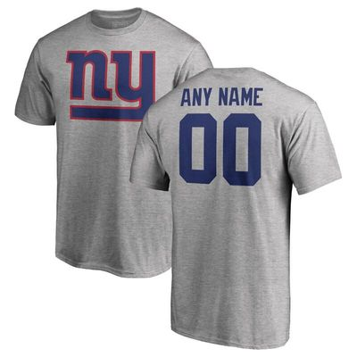 New York Giants NFL Pro Line Personalized Name & Number Logo T-Shirt - Ash
