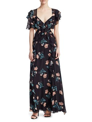 Nicholas Piper Silk Cutout Maxi Dress