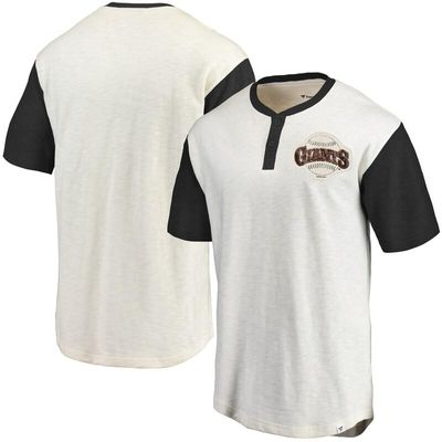 San Francisco Giants Fanatics Branded True Classics Henley T-Shirt - Cream/Black