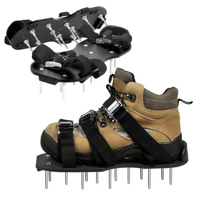 Hot Garden Lawn Aerator Shoes Sandal Aerating Spike Grass Pair Green Spiked Tool Loose Soil Shoes Black 30X13CM