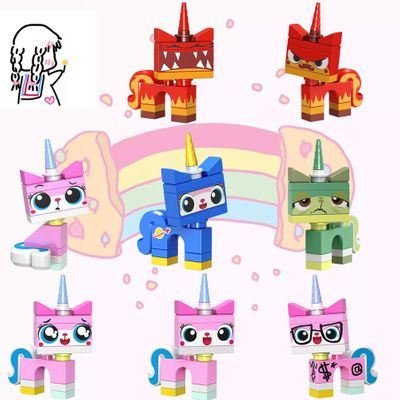 Single Sale Cute Series Unicorn Cat  Girl's Party Animal Educational Anime Bricks Building Blocks Figures Gifts For Children Toy