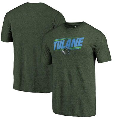 Tulane Green Wave Double Bar Tri-Blend T-Shirt - Green