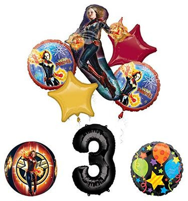 Mayflower Products Captain Marvel 3rd Birthday Party Supplies Jubilee and Orbz Balloon Bouquet Decorations