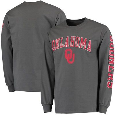 Oklahoma Sooners Distressed Arch Over Logo Long Sleeve Hit T-Shirt - Charcoal