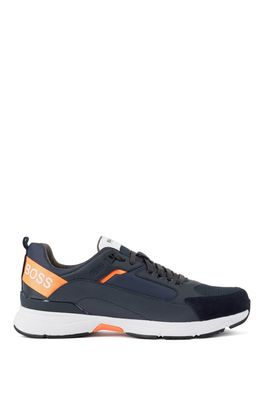 HUGO BOSS - Low Top Sneakers In Mixed Materials With Branded Webbing