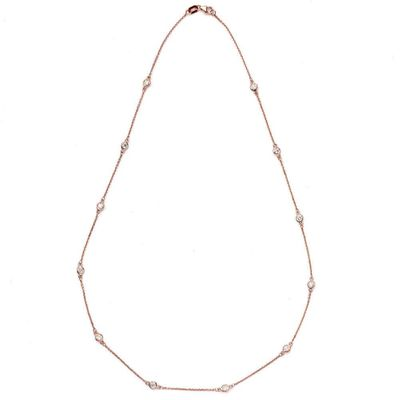 Suzy Levian 1 4/5 ct TDW 14k Rose Gold Bezel Diamond Station Necklace