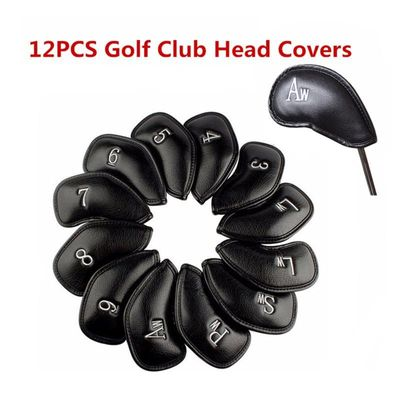 12pieces / set Exquisite PU Golf Club Iron Head Covers Golf Head Protector Games Iron Club Head Cover Sets Cover Accessories