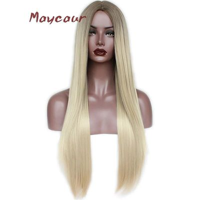 Maycaur Ombre Blonde Color Long Straight Synthetic Hair Wigs Heat Resistant Fiber Soft Wigs for Black Women
