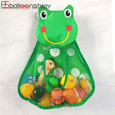 BalleenShiny Cartoon Duck Frog Toy Storage Pocket Mesh Bathroom Wall Suction Baby Kids Toy Organizer Net Toiletries Neaten Bags