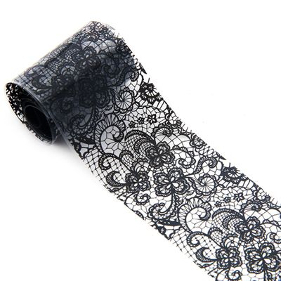 1 roll 4*100 CM Black Lace Starry Sky Design Nail Art Foil Stickers Transfer Decal Tips Manicure