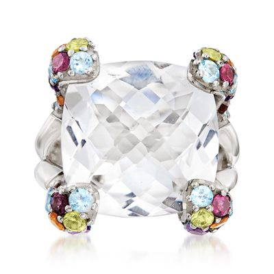 Ross-Simons Rock Crystal and Multi-Gemstone Ring in Sterling Silver