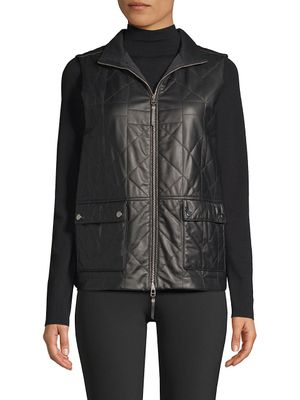 Lafayette 148 New York Leather Quilted Vest