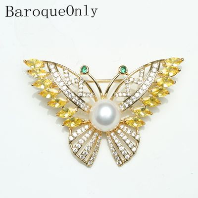 Baroqueonly freshwater natural white pearl  Gold Hardware green stone butterfly brooch for woman vintage style  jewelry BRE