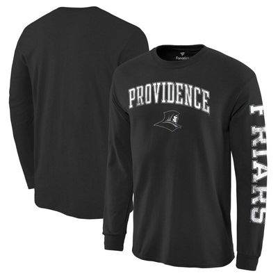 Providence Friars Fanatics Branded Distressed Arch Over Logo Long Sleeve Hit T-Shirt - Black