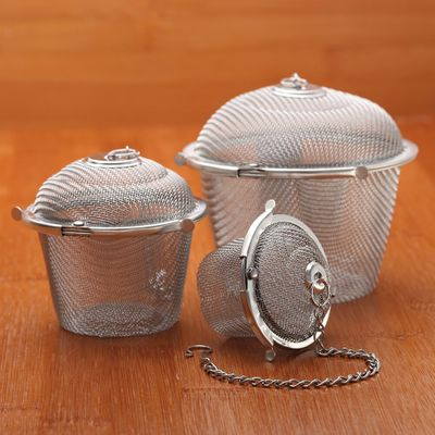 3 Size Stainless Steel Durable Silver Reusable Mesh Herbal Ball Tea Spice Strainer Teakettle Locking Tea Filter Infuse Spice