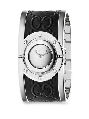 Gucci Twirl Stainless Steel Guccissima and Bee Leather Bangle Analog Watch