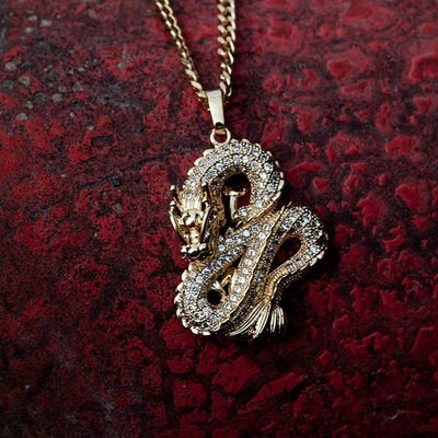Luxury Gold Colors Zircon Dragon Pendant Necklaces for Men Women Iced Out Tennis Gold Chain Hip Hop Jewelry Gifts