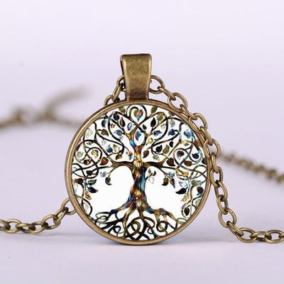 Fashion Retro Tree of Life Necklace Glass  Plant Pendant Bronze Color Chain Necklaces Jewelry for Women  Girl Sweater Chain