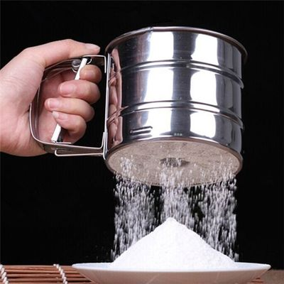 Handheld Flour Shaker Tools Mesh Flour Bolt Sifter  Mechanical Manual Sugar  Icing Stainless Steel Cup Shape Bakeware Sifters