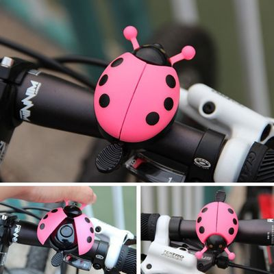 Aluminum alloy bicycle bell ring lovely kid beetle mini cartoon ladybug ring bell for cycling bike ride small cute horn alarm