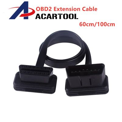 60cm 100cm Thin As Noodle OBDII OBD2 16Pin ELM327 Male To Female Elbow Extension OBD 2 Auto Car Diagnostic Cable Connector