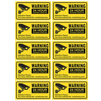 10PCS Waterproof Video Camera Surveillance Security Stickers Decals Warning Alarm Signs for Home Office School Shop