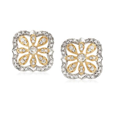 Ross-Simons Diamond Openwork Flower Earrings in Sterling Silver and 14kt Yellow Gold