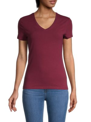 Saks Fifth Avenue V-neck Stretch-Cotton Tee