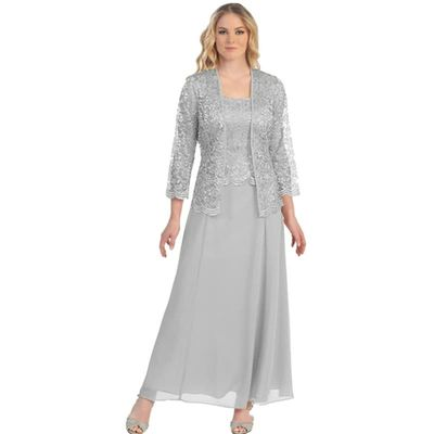 Robe De Soiree Lace Long Evening Dress Jacket Long Sleeve Wedding Guest Dress Two Piece Formal Mother of the Bride Dresses